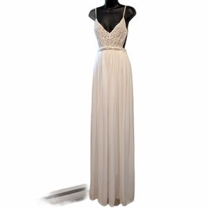 NWT L'atiste white boho backless maxi dress medium